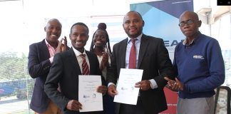 Mr. Elijah Profits, Executive Director of Iron and Steel Africa Review and Mr. Johnson Kilangi, CEO Lean Africa pose for a photo after signing the agreement to work together. PHOTO COURTESY I&SAR